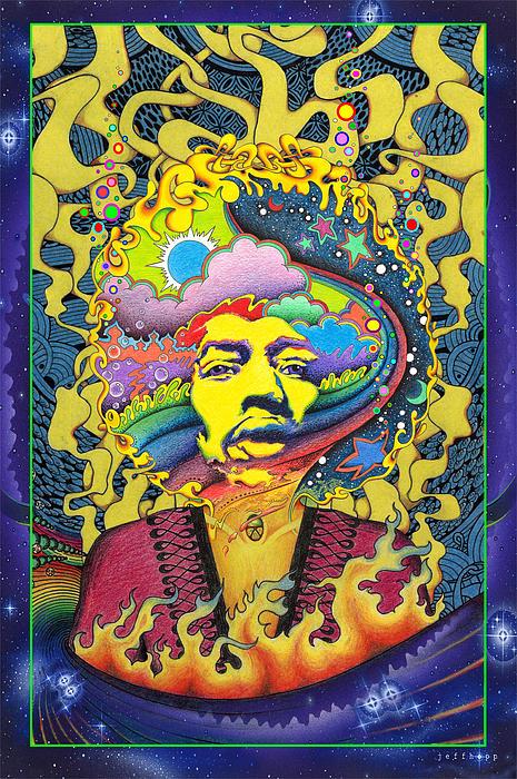 Jimi Hendrix Rainbow King Print by Jeff Hopp