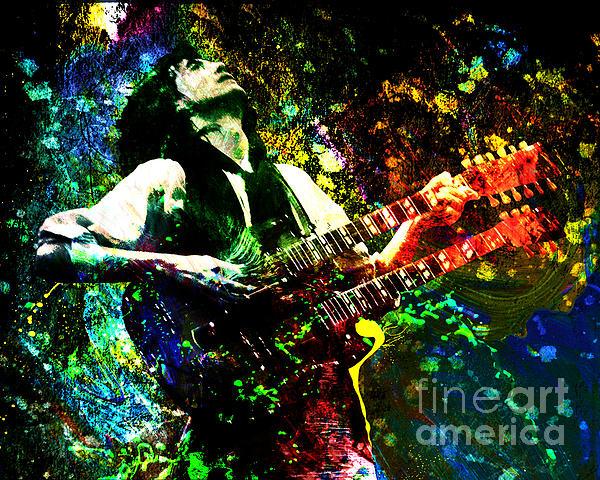 Jimmy Page - Led Zeppelin - Original Painting Print Print by Ryan RockChromatic