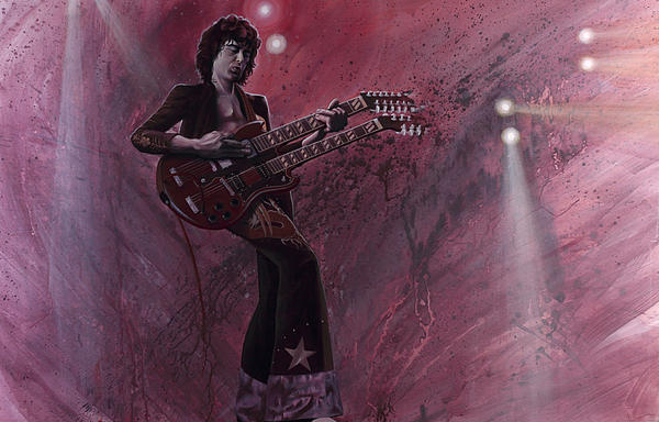Jimmy Page Print by Robert  Laskey