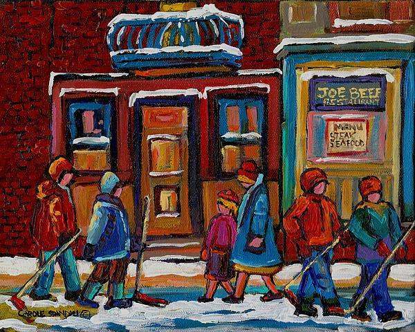 Joe Beef Restaurant And Boys With Hockey Sticks Print by Carole Spandau