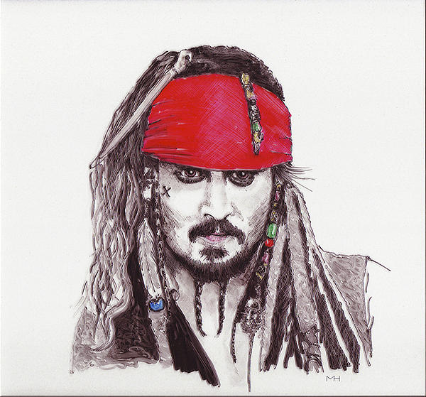 Johnny Depp As Jack Sparrow Print by Martin Howard