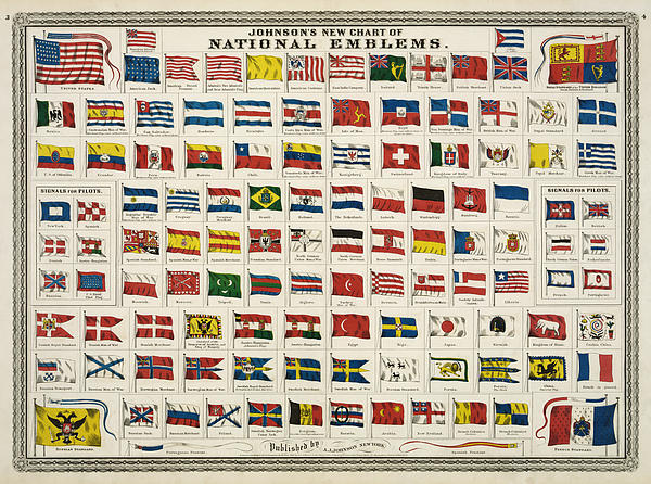 Johnsons New Chart Of National Emblems Print by Nomad Art And  Design