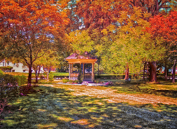 Join Me In The Gazebo On This Beautiful Autumn Day Print by Thomas Woolworth
