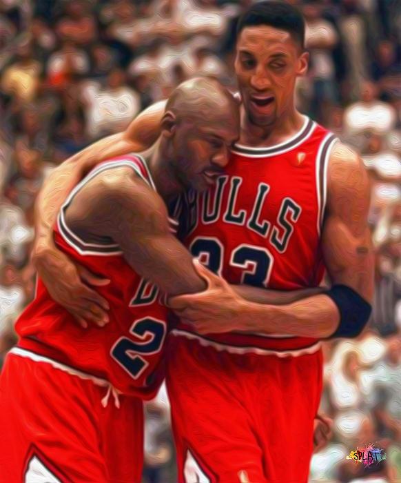 Jordan And Pippen Print by Paint Splat