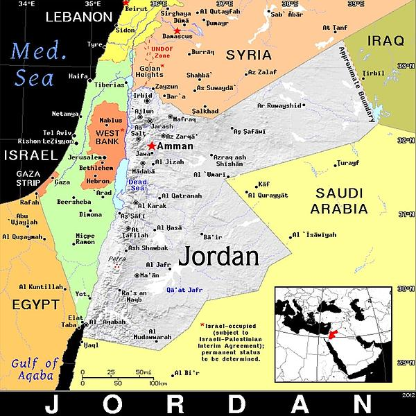 Jordan Exotic Map Print by Florene Welebny