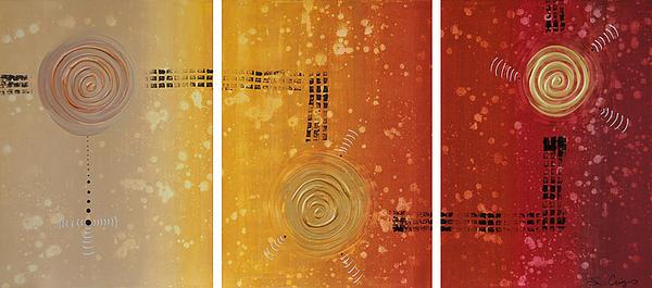 Journey To Zen - Earth Tone Yellow Burnt Orange Art Painting Print by Sharon Cummings