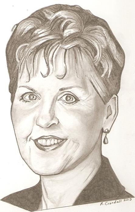 Joyce Meyer Drawing Print by Robert Crandall