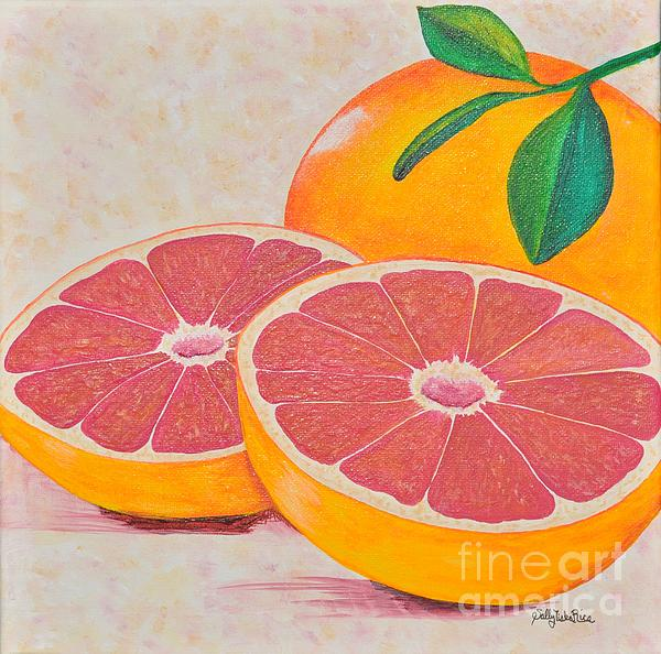 Juicy Pink Grapefruit Print by Sally Rice