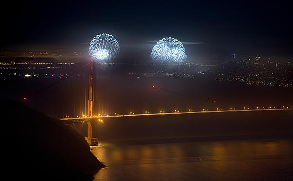 July Fourth Over The Bay Print by Daniel Furon