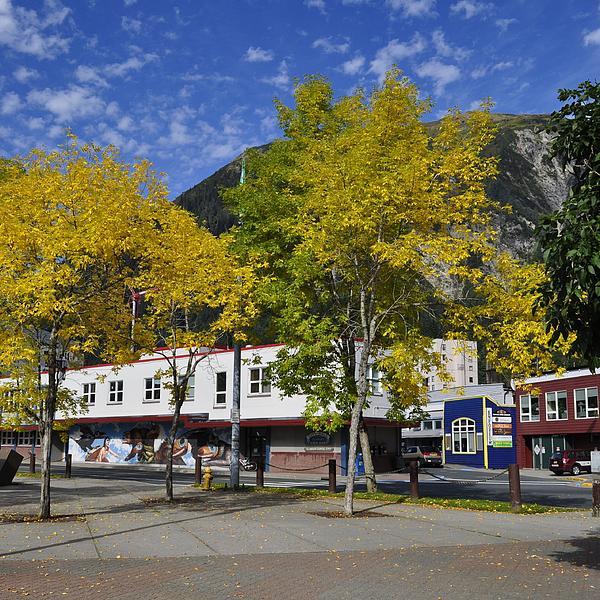 Juneau In The Fall Print by Cathy Mahnke