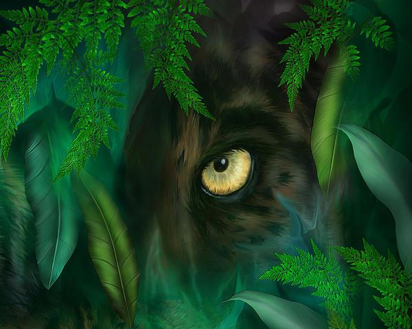 Jungle Eyes - Panther Print by Carol Cavalaris