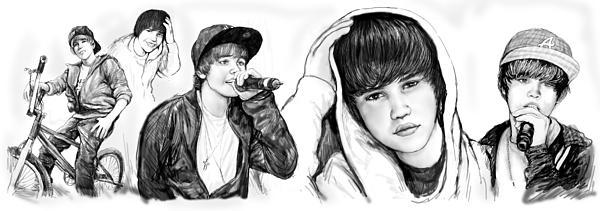 Justin Bieber Art Long Drawing Sketch Poster Print by Kim Wang