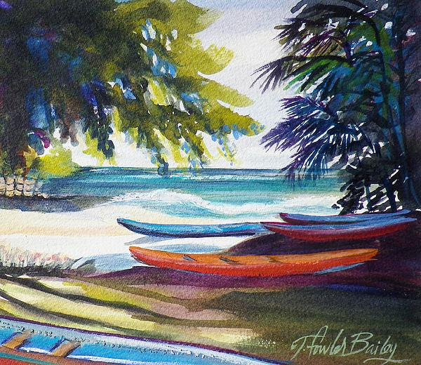 Kailua Beach Canoes Sold Print by Therese Fowler-Bailey