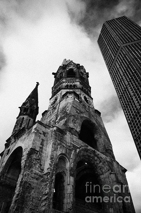 Kaiser Wilhelm Gedachtniskirche Memorial Church Next To The New Church Berlin Germany Print by Joe Fox