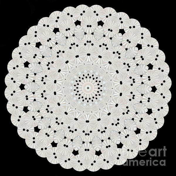 Kaleidoscope Of White Buttons Print by Becky Hayes