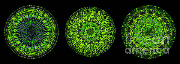 Kaleidoscope Triptych Of Glowing Circuit Boards Print by Amy Cicconi