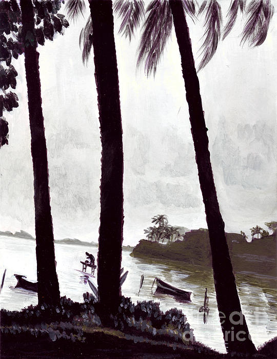 Kaneohe Bay From Bus Stop Print by Mukta Gupta