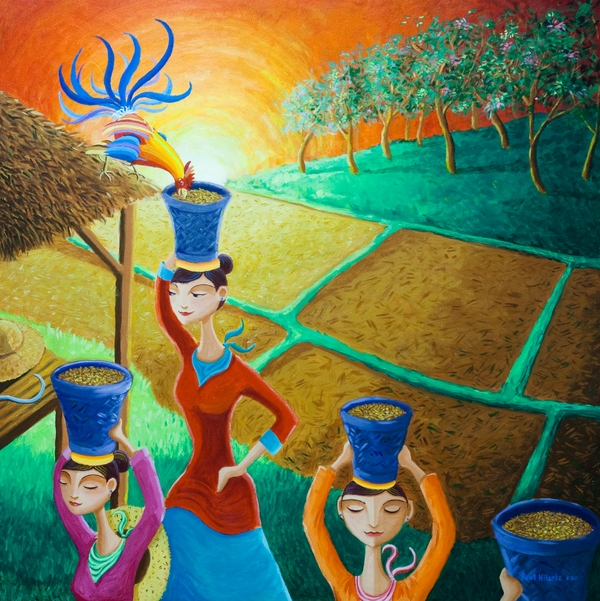 Kapag Palay Na Lumapit Sa Manok Print by Paul Hilario