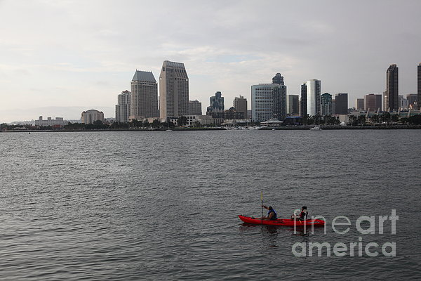 Kayaking Along The San Diego Harbor Overlooking The San Diego Skyline 5d24376 Print by Wingsdomain Art and Photography