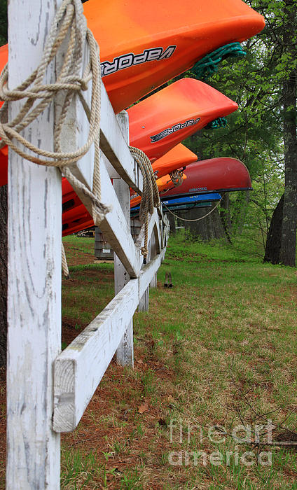 Kayaks On A Fence Print by Michael Mooney