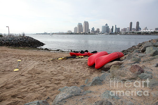 Kayaks On Coronado Island Overlooking The San Diego Skyline 5d24369 Print by Wingsdomain Art and Photography