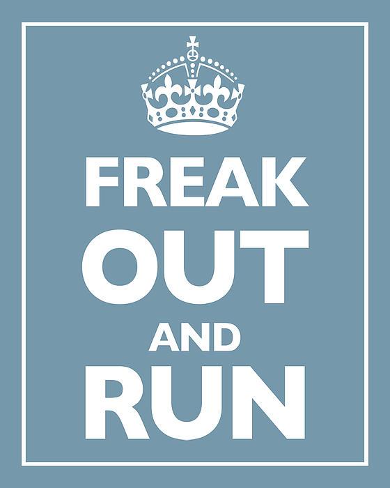 Keep Calm And Carry On Parody Blue Print by Tony Rubino