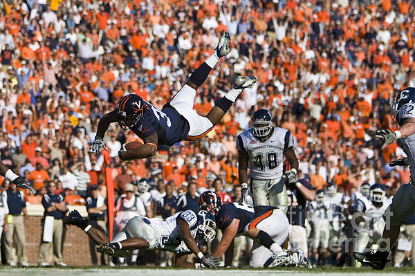 Keith Payne Superman Dive Virginia Cavaliers Football Print by Jason O Watson
