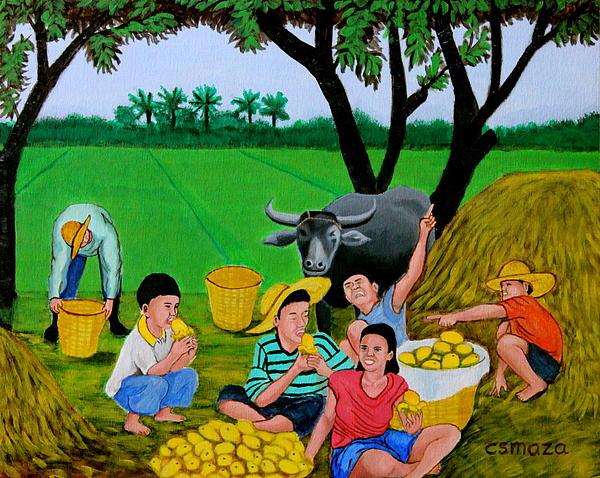 Kids Eating Mangoes Print by Cyril Maza