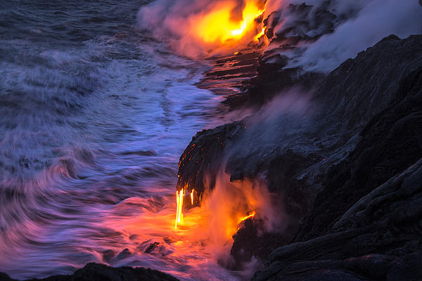 Kilauea Volcano Lava Flow Sea Entry 5 - The Big Island Hawaii Print by Brian Harig