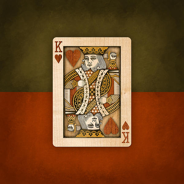 King Of Hearts In Wood Print by Yo Pedro