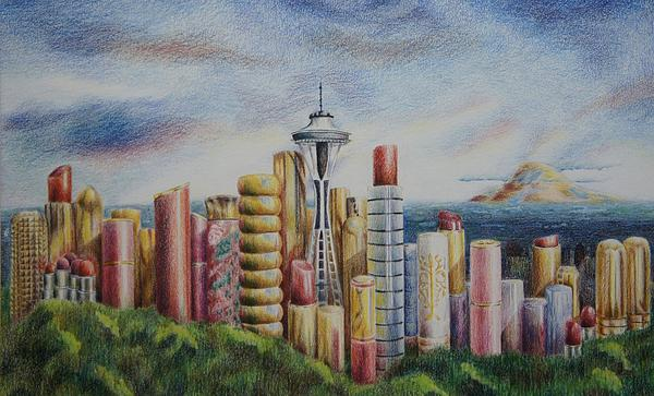 Kiss Of Seattle Print by Mary Jo Jung
