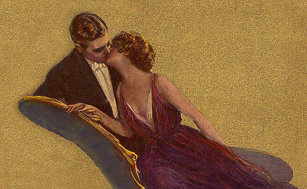 Kissing On The Chaise-longue Valentine Print by Sarah Vernon