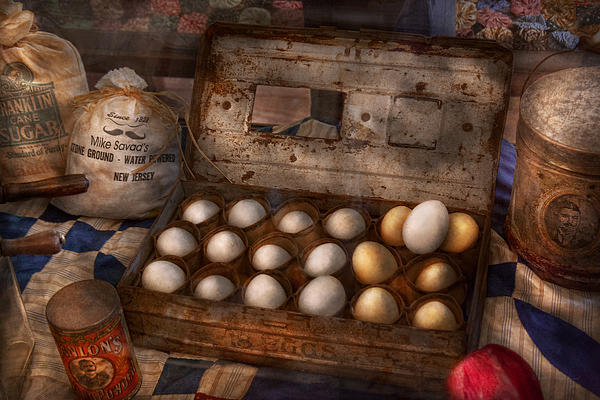 Kitchen - Food - Eggs - 18 Eggs  Print by Mike Savad