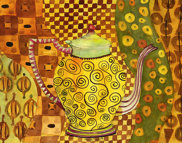 Klimt Style Teapot Blenda Studio Print by Blenda Studio