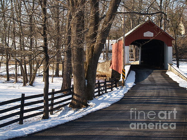 Knecht's Bridge On Snowy Day - Bucks County Print by Anna Lisa Yoder