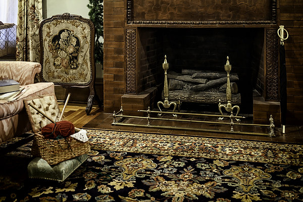 Knitting In Front Of A Vintage Fireplace Print by Lynn Palmer