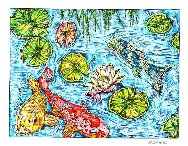 Karen Sirard - Koi Fish in a Pond
