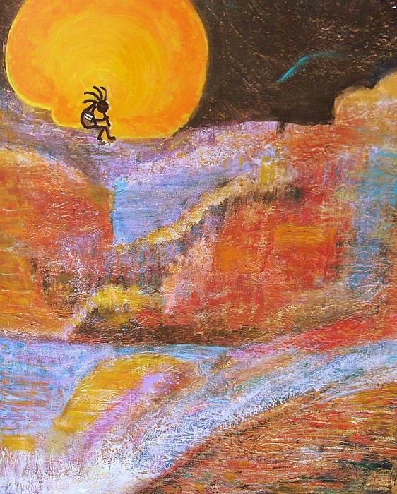 Kokopelli And The Big Moon Print by Anne-Elizabeth Whiteway