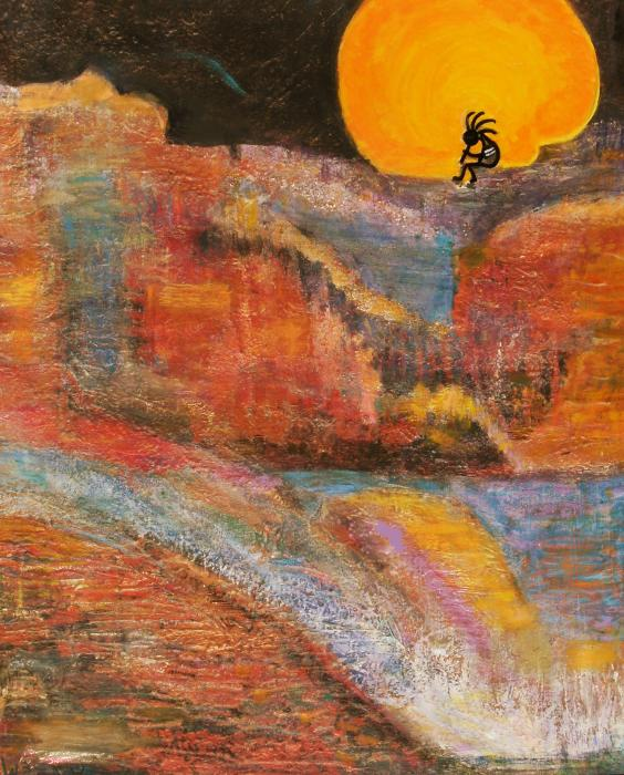Kokopelli On A Marmalade Moon Night Revisited Print by Anne-Elizabeth Whiteway