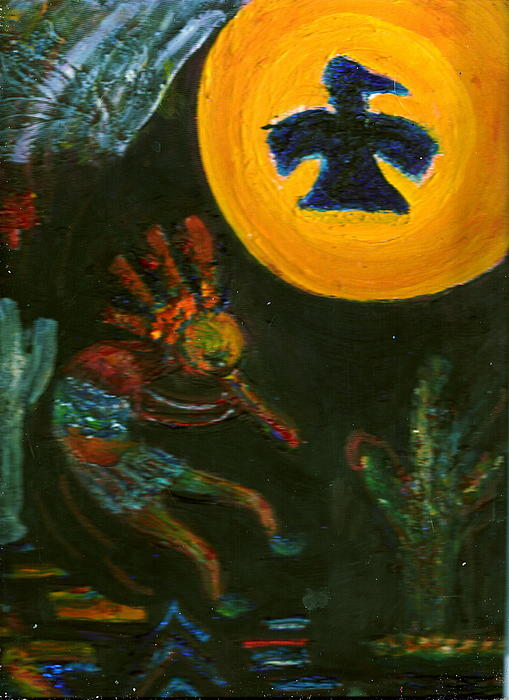 Kokopelli With Thunderbird In The Moon Print by Anne-Elizabeth Whiteway