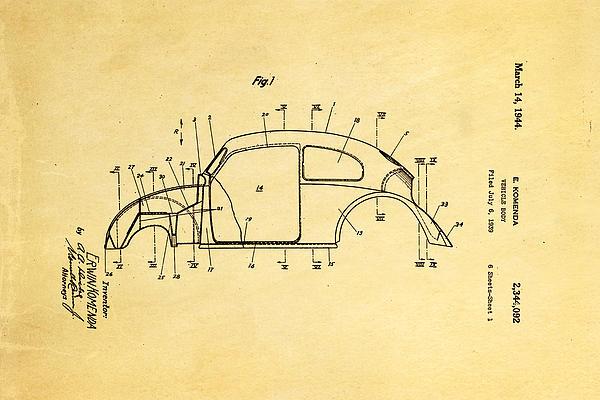 Komenda Vw Beetle Body Design Patent Art 1944 Print by Ian Monk