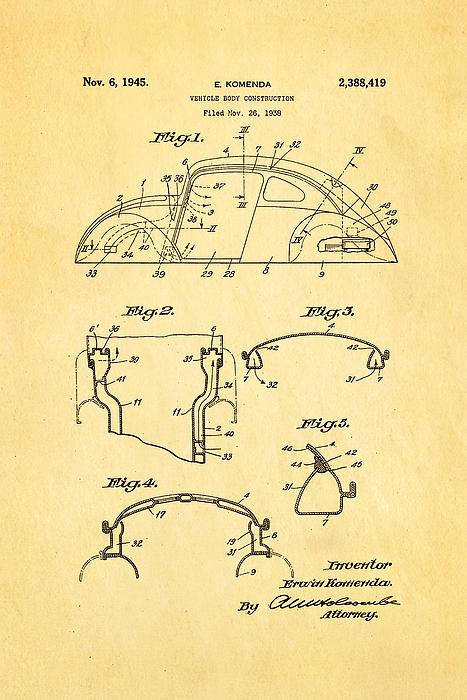 Komenda Vw Beetle Body Design Patent Art 1945 Print by Ian Monk