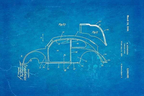 Komenda Vw Beetle Body Design Patent Art 2 1944 Blueprint Print by Ian Monk