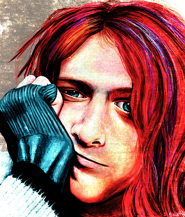 Kurt Cobain - Grungy Version Print by Shawna  Rowe