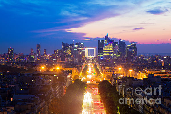 La Defense And Champs Elysees At Sunset In Paris France Print by Michal Bednarek
