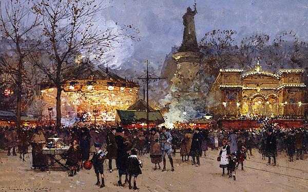La Fete Place De La Republique Paris Print by Eugene Galien-Laloue