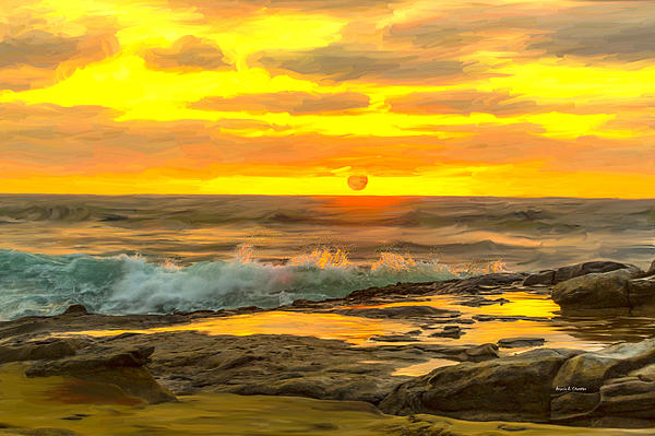 Angela A Stanton - La Jolla Sunset in Digital Oil