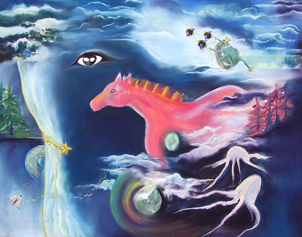 La Reverie Du Cheval Rose Or Dream Quest Of The Pink Horse. Print by Marie-Claire Dole