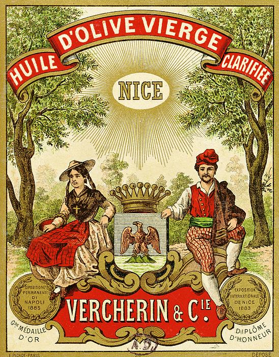 Label For Vercherin Extra Virgin Olive Oil Print by French School