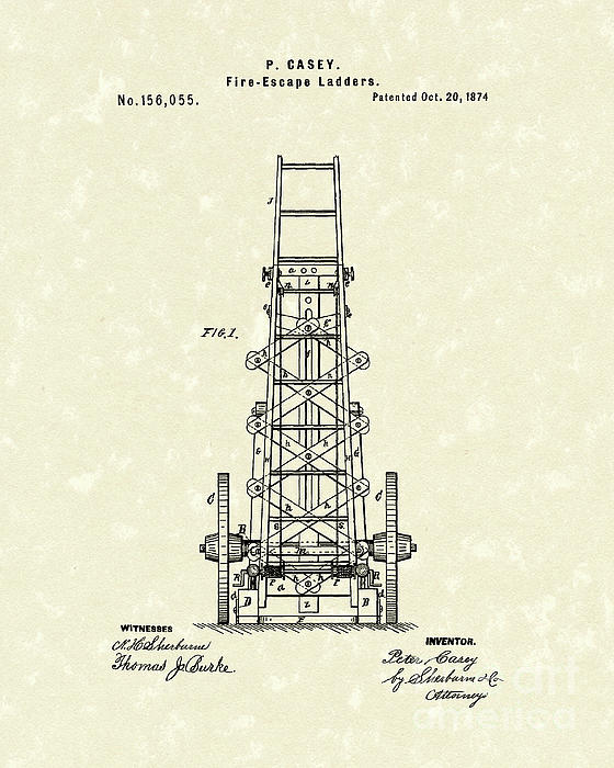 Ladders 1874 Patent Art Print by Prior Art Design